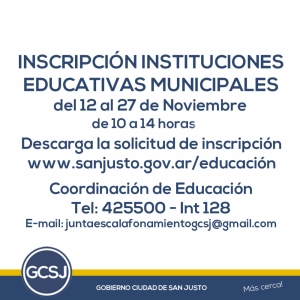 INSCRIPCIÓN INSTITUCIONES EDUCATIVAS MUNICIPALES